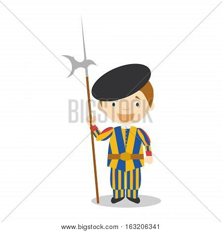 Swiss Guard character from Vatican City dressed in the traditional way Vector Illustration. Kids of the World Collection.