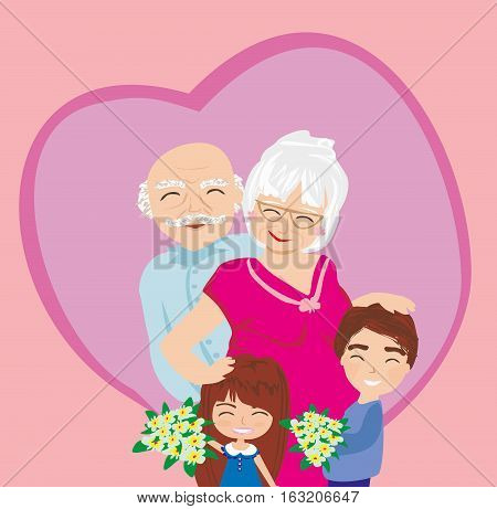 Happy grandparents day card , vector illustration