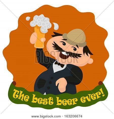 Happy Englishman With Glass Of Tasty Beer. The Best Beer Ever. Vector Illustration Isolated On White