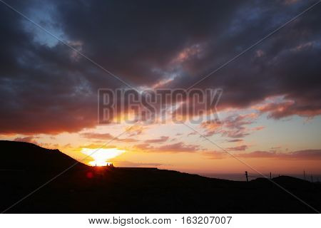 Sunset on Tenerife - small volcanos in countryside live is the village