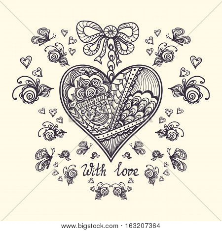 Decorative Heart with roses  butterflies in Zen-tangle Zen-doodle style for relax coloring page or for  adult  coloring book black on white or for creative  Post Card on Valentine Day