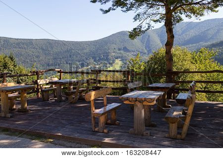 Resting place with viewing platform with mountain view covered with forest. Little Fatra Mountains - Slovakia