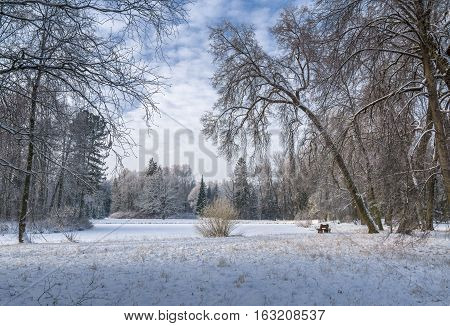 Snow covered park and pond with bench and cloudy sky