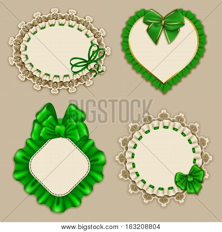 Set of elegant templates ornate frames for design luxury invitation, gift, greeting card, postcard with lace ornament, ruffles, green bows, ribbons, place for text. Vector illustration EPS10