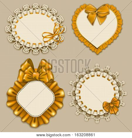 Set of elegant templates ornate frames for design luxury invitation, gift, greeting card, postcard with lace ornament, ruffles, yellow bows, ribbons, place for text. Vector illustration EPS10