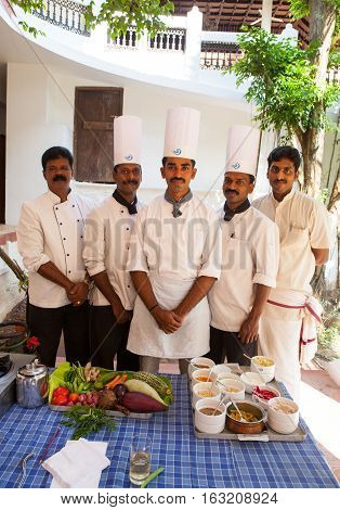 KERALA, INDIA. 20 January 2011:  Cook Indian restaurant demonstrate a master class on Ayurvedic cuisine. Chowara, Kerala, South-west India.