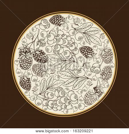 Сard template.Vector round frame label with hand drawn raspberry bilberry blueberry
