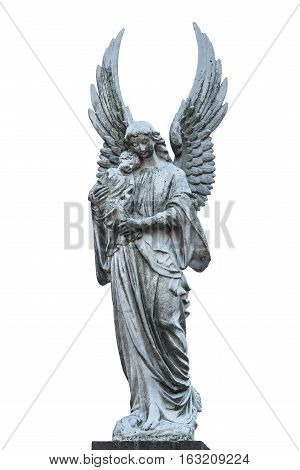 Grey white statue of maria with baby christ statue isolated on a white background