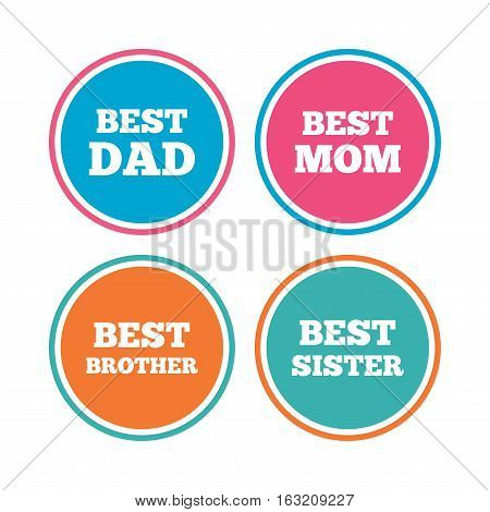 Best mom and dad, brother and sister icons. Award symbols. Colored circle buttons. Vector