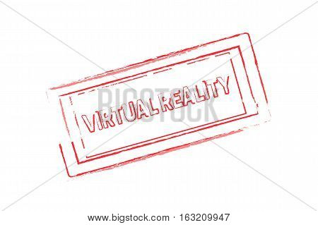 Virtual Reality rubber stamp red. vector illustration