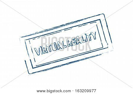 Virtual Reality rubber stamp blue. vector illustration