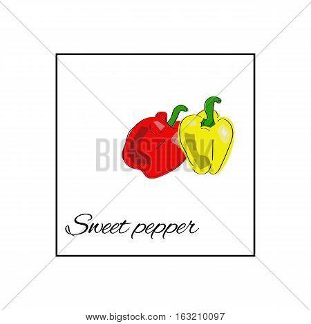 Vector vegetables. Food. Sweet pepper. Paprika. Bell pepper.
