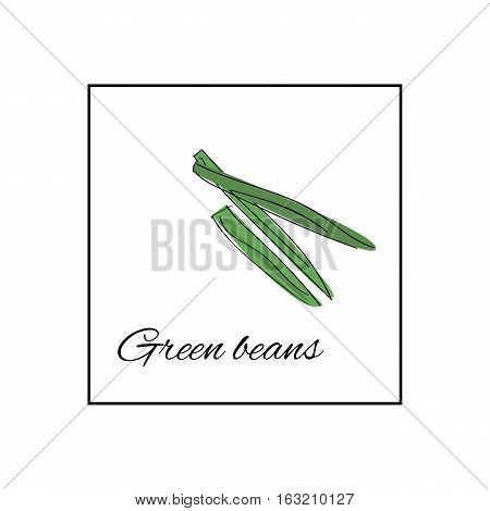 Fresh green beans whole and sliced vector illustration