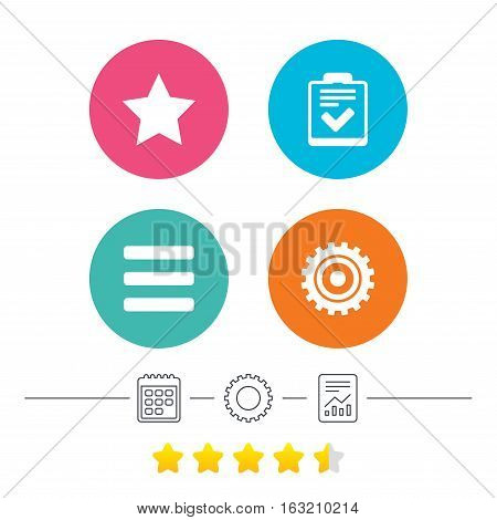 Star favorite and menu list icons. Checklist and cogwheel gear sign symbols. Calendar, cogwheel and report linear icons. Star vote ranking. Vector