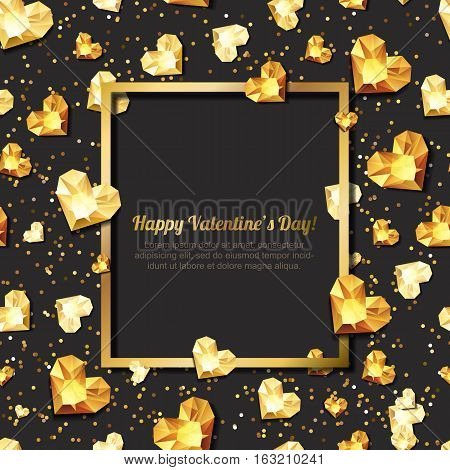 Valentines Day Vector Illustration. 3D Gold Heart Diamonds, Gems, Jewels. With Square Frame With Pla
