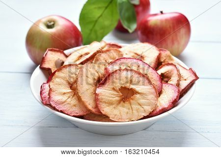 Dehydrated fruits apples chips in bowl fruit healthy snack