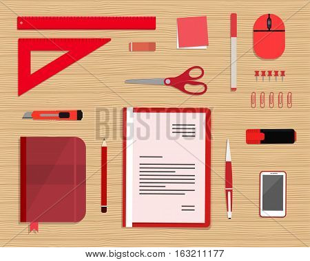Red stationery on a wood background. Top view of a desk. There is a smart phone, a folder, a planner, a ruler, a stationery knife, a marker and other objects in the picture. Vector flat illustration