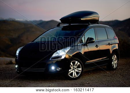 Tabernas Spain - December 27 2016: Black colour Peugeot 5008 outdoors. The Peugeot 5008 is a French car and has been on sale since November 2009.