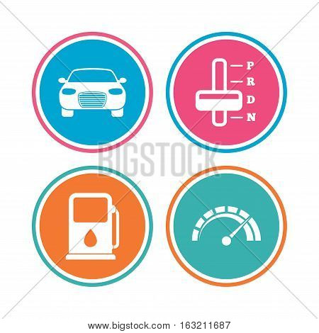 Transport icons. Car tachometer and automatic transmission symbols. Petrol or Gas station sign. Colored circle buttons. Vector