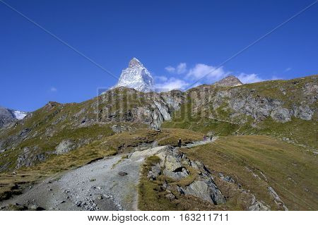 the track to matterhorn in swiss alps