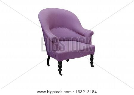 Pink antique arm chair with clipping path on white background