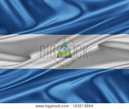 Nicaragua flag. Flag with a beautiful glossy silk texture. 3D illustration.