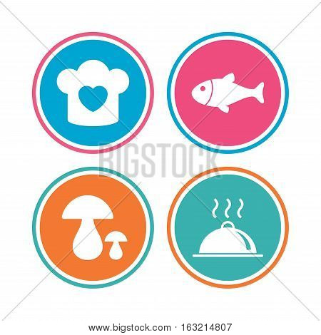 Chief hat with heart and cooking pan icons. Fish and boletus mushrooms signs. Hot food platter serving symbol. Colored circle buttons. Vector