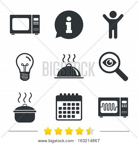 Microwave grill oven icons. Cooking pan signs. Food platter serving symbol. Information, light bulb and calendar icons. Investigate magnifier. Vector