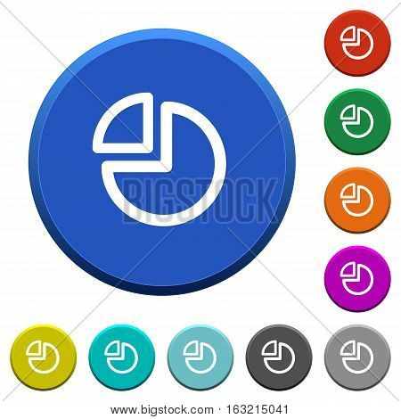 Pie chart round color beveled buttons with smooth surfaces and flat white icons
