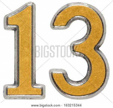 Metal numeral 13 thirteen isolated on white background
