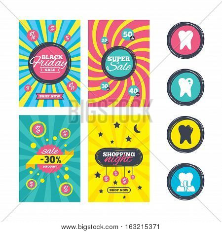 Sale website banner templates. Dental care icons. Caries tooth sign. Tooth endosseous implant symbol. Ads promotional material. Vector