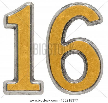 Metal numeral 16 sixteen isolated on white background