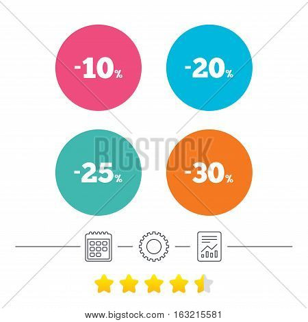 Sale discount icons. Special offer price signs. 10, 20, 25 and 30 percent off reduction symbols. Calendar, cogwheel and report linear icons. Star vote ranking. Vector