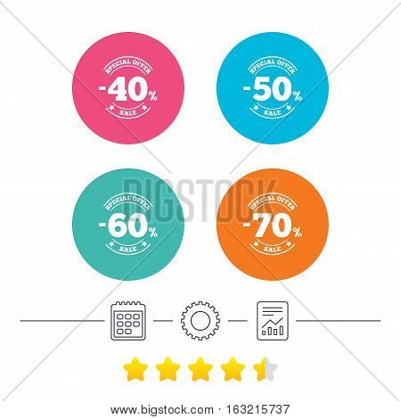 Sale discount icons. Special offer stamp price signs. 40, 50, 60 and 70 percent off reduction symbols. Calendar, cogwheel and report linear icons. Star vote ranking. Vector