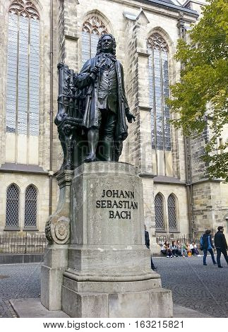 Bach Monument Stands Since 1908 In Front Of The St Thomas Kirche