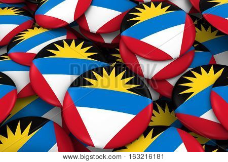 Antigua And Barbuda Badges Background - Pile Of Antiguan Or Barbudan Flag Buttons 3D Illustration