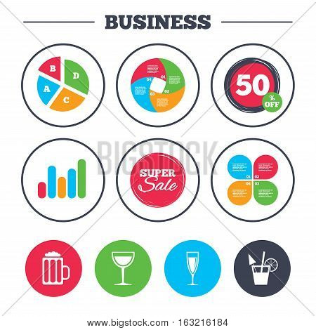 Business pie chart. Growth graph. Alcoholic drinks icons. Champagne sparkling wine and beer symbols. Wine glass and cocktail signs. Super sale and discount buttons. Vector
