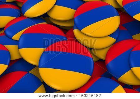 Armenia Badges Background - Pile Of Armenian Flag Buttons 3D Illustration