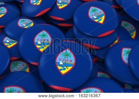 Guam Badges Background - Pile Of Guamanian Flag Buttons 3D Illustration