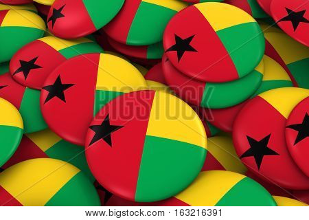 Guinea-bissau Badges Background - Pile Of Bissau-guinean Flag Buttons 3D Illustration
