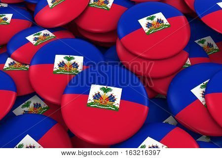 Haiti Badges Background - Pile Of Haitian Flag Buttons 3D Illustration