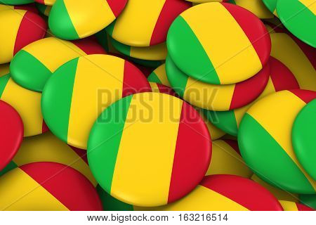 Mali Badges Background - Pile Of Malian Flag Buttons 3D Illustration