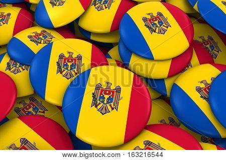 Moldova Badges Background - Pile Of Moldovan Flag Buttons 3D Illustration