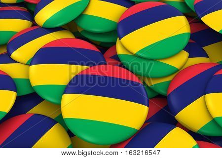 Mauritius Badges Background - Pile Of Mauritian Flag Buttons 3D Illustration
