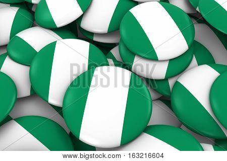 Nigeria Badges Background - Pile Of Nigerian Flag Buttons 3D Illustration