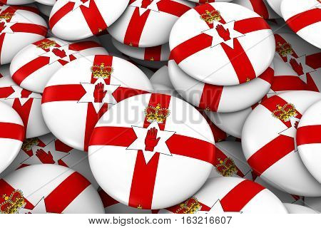 Northern Ireland Badges Background - Pile Of Northern Irish Ulster Flag Buttons 3D Illustration