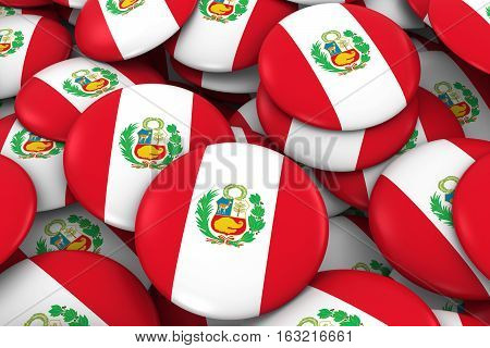 Peru Badges Background - Pile Of Peruvian Flag Buttons 3D Illustration