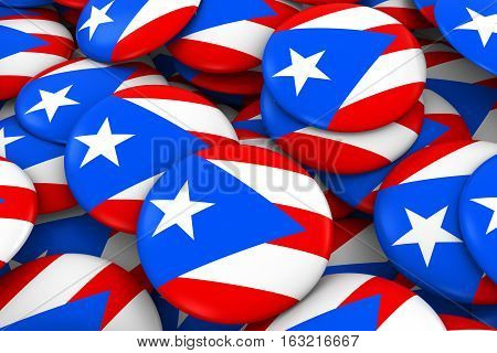 Puerto Rico Badges Background - Pile Of Puerto Rican Flag Buttons 3D Illustration