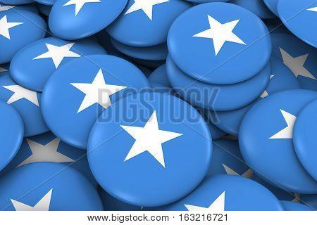 Somalia Badges Background - Pile Of Somali Flag Buttons 3D Illustration