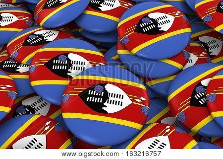Swaziland Badges Background - Pile Of Swazi Flag Buttons 3D Illustration